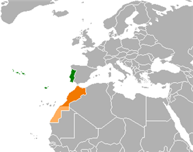 Map indicating locations of Portugal and Morocco
