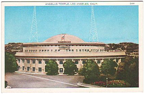 Historic post card photograph of the domed Angelus Temple.