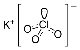 The structure of the ions in potassium chlorate