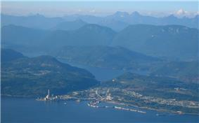 Aerial photograph of Powell River