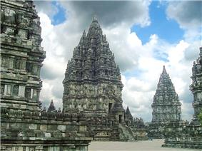 The main shrine of Prambanan temple compound dedicated to Shiva, surrounded by numbers of smaller shrines.