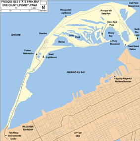 A map of the park on a narrow peninsula jutting into the lake