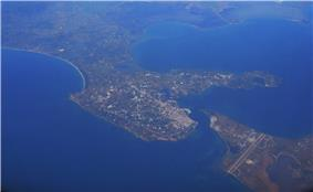 Preveza from the air. The cape of Actium and the airport can be seen in the lower right.