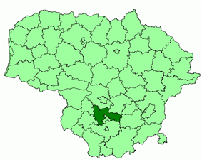 Location of Prienai district municipality within Lithuania