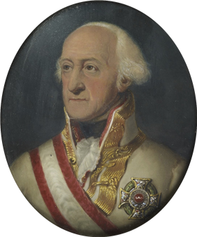 Painting of a white-haired man with a receding hairline. He wears a white military uniform with gold braid on the collar while his chest is adorned with a large silver award and a red and white sash.