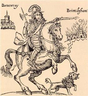 The picture centres on Rupert riding a horse, with his pet dog beneath him. Rupert is holding a small pike and firing a pistol, and is clad in armour. On the left is a small representation of the town of Daventry; on the right a depiction of Birmingham, ablaze.
