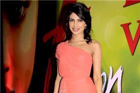 Priyanka Chopra in a light pink dress smiling towards the camera at a press event