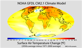In the 21st century, changes in global mean temperature are projected to vary across the world