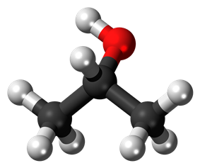 Ball-and-stick model of isopropyl alcohol