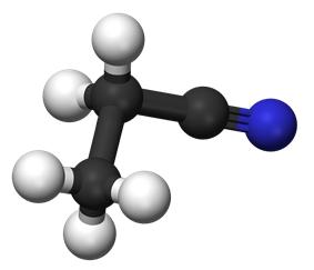 Ball and stick model of propanenitrile