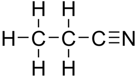 Skeletal formula of propanenitrile with all explicit hydrogens added