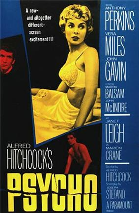 The poster features a large image of a young woman in white underwear. The names of the main actors are featured down the right side of the poster. Smaller images of Anthony Perkins and John Gavin are above the words, written in large print,