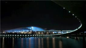 Shanghai Pudong International Airport terminal building seeing at night