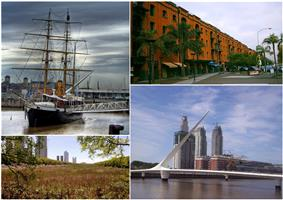 Clockwise from top: ARA Uruguay, recycled warehouses made into elegant houses and businesses, the Costanera Sur Ecological Reserve and the Puente de la Mujer.