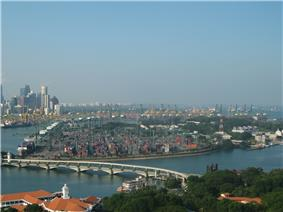 Pulau Brani lies to the right of the Keppel Harbour, as seen in this view from Sentosa's Tiger Sky Tower