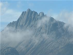 A rocky mountain ridge.