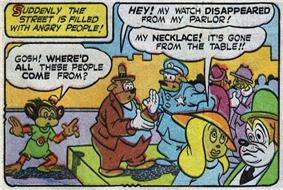 A comics panel.  In the top left, a caption with a yellow background reads,