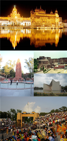 Clockwise from top: Harmandir Sahib, Qila Mubarak, Gandhi Bhavan, Wagah Border, Jallianwala Bagh Memorial