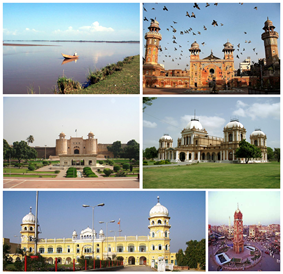 Counter-clockwise from top left: Chenab River, Lahore Fort, Nankana Sahib, Faisalabad, Noor Mahal – Bahawalpur, Masjid Wazir Khan – Lahore.
