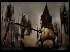 A screenshot of a painting featured in a video game; a pale-skinned, spear-wielding, and muscular monster with a bloodstained, and rusty, triangular head stands in the center, surrounded by caged humanoids.