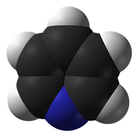 Space-filling model of pyridine
