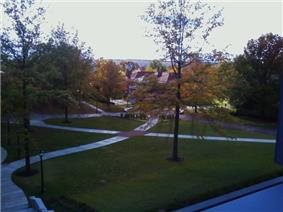 Picture of a campus quadrangle with pathways intersecting and a building in the distance