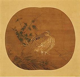 A quail in three-quarter view and a shrub on an oval background.