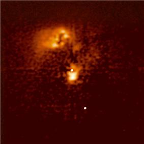 An image of the Seyfert galaxy HE0450-2958, showing the active nucleus
