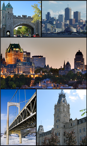 Clockwise from top left: Saint Louis Gate in the Ramparts; Parliament Hill and Bassin Louise waterfront area; Château Frontenac and Holy Trinity Cathedral in Vieux-Québec; Quebec National Assembly; Pierre Laporte Bridge with Quebec Bridge in the background