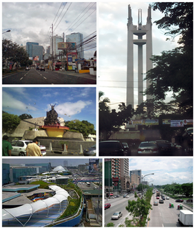 (From top, left to right): Eastwood City, Quezon Memorial Circle, aerial view of Quezon City, EDSA Shrine, Katipunan Avenue