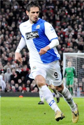 A footballer playing for Blackburn Rovers