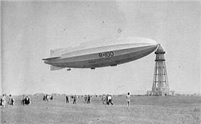 An airship moored at a mast