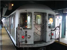 A train made of R42 cars in Z service at Broadway Junction.