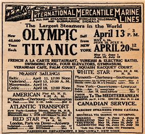 Display ad for Titanic's first but never made sailing from New York on April 20, 1912