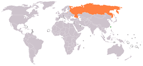 Map indicating locations of ROC and Russia