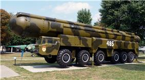 RT-21M Pioneer missile and launcher on display in Kiev