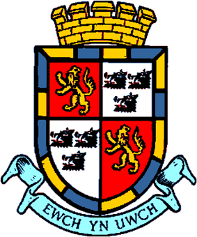 Coat of arms granted to Radnorshire County Council in 1954. Now used the Radnorshire Shire Committee of Powys County Council