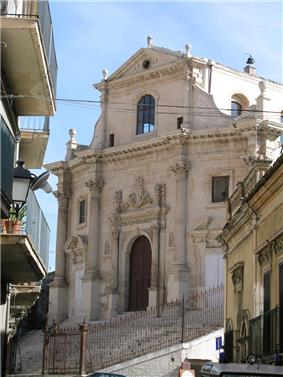 The Church of Holy Souls of Purgatory, Ragusa, constructed in the latter half of the 18th century.