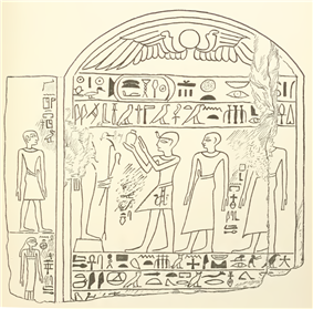Rahotep (raising arms) while offering to Osiris. Stele BM EA 833, drawn by Wallis Budge.Wallis Budge: ''Hieroglyphic texts from Egyptian stelae, &c., in the British Museum, Part IV'', London: Printed by order of the Trustees [by] Harrison and Sons, 1913, [http://hdl.handle.net/1959.14/1327 available not-in-copyright here], pl. 24.