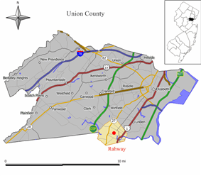 Rahway highlighted in Union County. Inset; Location of Union County highlighted in the State of New Jersey.