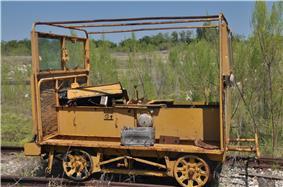 Rail maintenance car at Texas Transportation museum.JPG