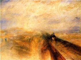 An impressionistic painting which is generally orange but with some purple in the sky. Two strong lines emerge from the centre and disappear at bottom right which form an arch bridge carrying a smudge of a steam train towards the viewer.