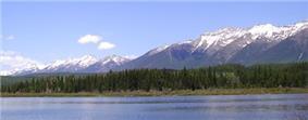 Rainy Lake and mountains.