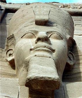 One of the four external seated statues<br/>of Ramesses II at .