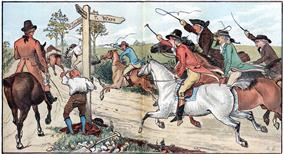Illustration of a country road crossroad with a man standing below the signposts and seven galloping horsemen waving crops converging from one direction and a single walking horseman from the other