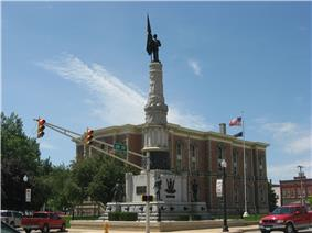 Randolph County Courthouse and veterans' monument in downtown Winchester
