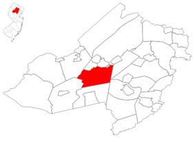 Randolph Township highlighted in Morris County. Inset map: Morris County highlighted in the State of New Jersey.
