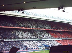 Rangers F.C. showing French card display at Ibrox to welcome Paul Le Guen