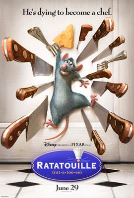 A rat is smiling nervously as he clings to a piece of cheese while he is pinned to a door by sharp knives and forks. The film's tagline,