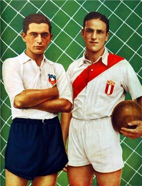 Portrait of two men, dressed in sports attire, looking straight a the viewer